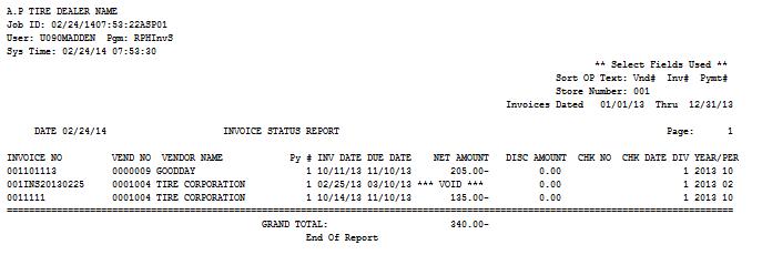 Invoice Status Report - Invoice number format