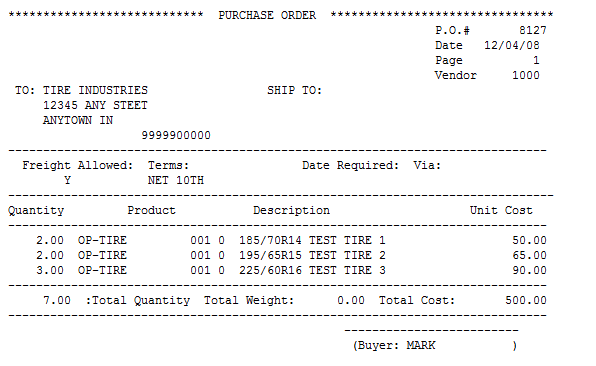 Example Printed Purchase Order  Examples Of Purchase Orders